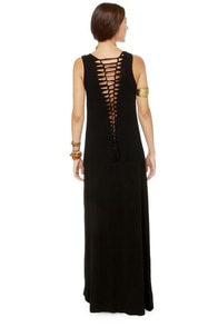 Gypsy Junkies Axel Slashed Black Maxi Dress at Lulus.com!