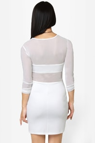 Meshy Business Cutout Ivory Dress at Lulus.com!