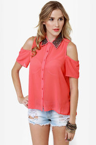 Your True Collars Shine Beaded Coral Top