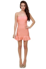 Pinky Swear Strapless Coral Pink Dress