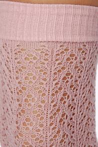 Tabbisocks Kawaii Crocheted Knee High Dusty Pink Socks