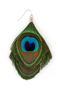 Zad New Peacock on the Block Feather Earrings