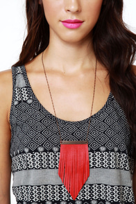 Amy Waltz Flirting With Fringe Red Leather Necklace at Lulus.com!