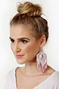 Claire Fong Parton Silver and Pink Fringe Earrings at Lulus.com!