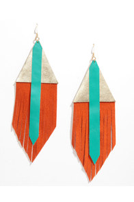 Claire Fong Tropical Fire Orange Leather Earrings