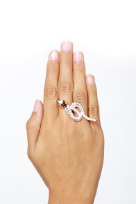 Wildfox Snake It Up Rose Gold Two-Finger Ring