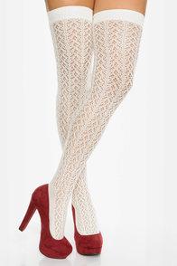 Tabbisocks Kawaii Crocheted Ivory Over the Knee Socks