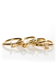 Zad All You Need is Love Gold Stacking Rings