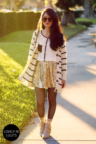 Chick Flicker Gold Sequin Skirt at Lulus.com!