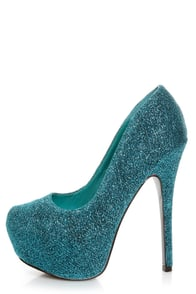 Mystic 1 Blue Glitter Fabric Platform Pumps