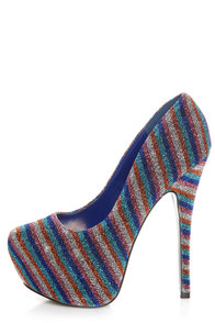 Mystic 2 Blue Striped Glitter Fabric Platform Pumps at Lulus.com!