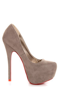 Mystic Grey Red-Soled Platform Pumps at Lulus.com!