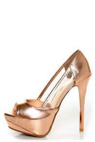 Anne Michelle Barbie 06 Rose Gold Metallic Platform Pumps