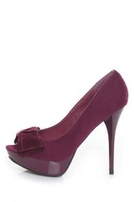 Anne Michelle Dynamite 13 Raspberry Crafty Bow Peep Toe Pumps