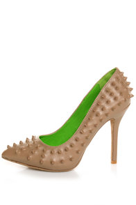 Anne Michelle Sensuous 19 Taupe Studded Pointed Pumps