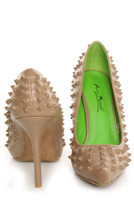 Anne Michelle Sensuous 19 Taupe Studded Pointed Pumps at Lulus.com!