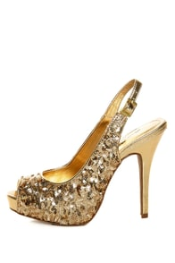 Anne Michelle Verdict 49 Gold Sequin Slingback Pumps