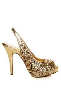Anne Michelle Verdict 49 Gold Sequin Slingback Pumps at Lulus.com!