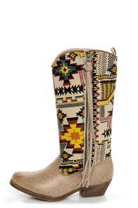 Big Buddha Wayne Natural Multi Southwest Print Cowboy Boots at Lulus.com!