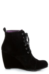 Blowfish India Black Fawn Lace-Up Wedge Booties at Lulus.com!