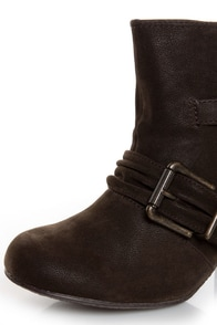 Blowfish Tarta Dark Brown Belted Ankle Boots at Lulus.com!