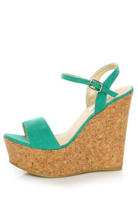 Bonnibel Hot 1 Sea Green Cork Wedge Sandals at Lulus.com!