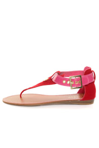Bamboo Ashley 27X Red & Pink Thong Sandals