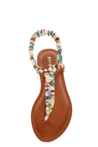 Bamboo Ashley 67 White Striped Braided Thong Sandals