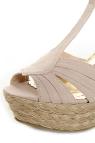 Bamboo Booster 03 Natural Linen T-Strap Espadrille Wedges at Lulus.com!
