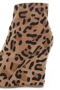 Bamboo Ceasar 01N Leopard Print Velvety Wedge Booties