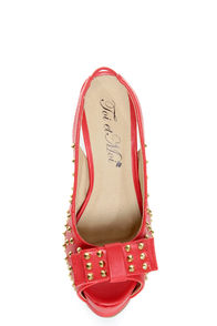 Toi et Moi Daisy 07 Red Studded Slingback Platform Heels at Lulus.com!