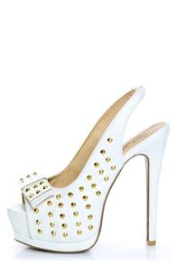 Toi et Moi Daisy 07 White Studded Slingback Platform Heels at Lulus.com!