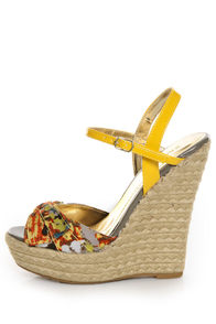 Bamboo Driven 69 Yellow Multi Print Espadrille Wedge Sandals