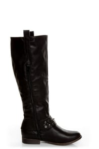 Bamboo Eastwick 01 Black Studded Riding Boots at Lulus.com!