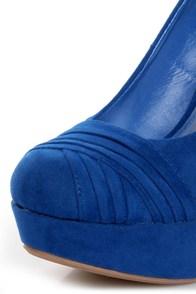 Bamboo Ericka 04 Blue Suede Ruched Platform Heels at Lulus.com!