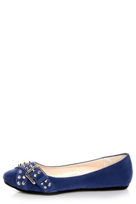 Bamboo Jayden 01 Blue Belted and Studded Pointed Flats