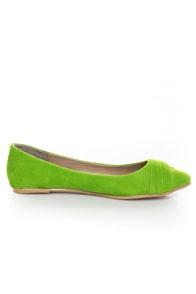 Bamboo Jump 29 Green Velvet Ruched Ballet Flats at Lulus.com!
