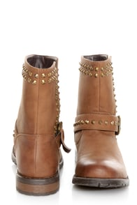 Bamboo Kacy 01 Chestnut Brown Studded Motorcycle Ankle Boots at Lulus.com!