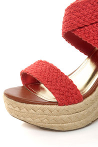 Bamboo Leanne 35 Coral Red Woven Espadrille Wedges at Lulus.com!