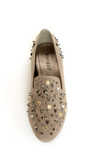 Bamboo Mansion 18 Taupe Studded Smoking Slipper Flats at Lulus.com!