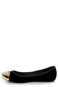 Bamboo Mirina 02 Black Studded Metal Cap-Toe Ballet Flats at Lulus.com!