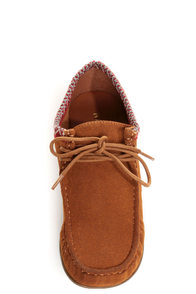 Bamboo Palazzo 01 Chestnut Lace-Up Moccasin Booties at Lulus.com!