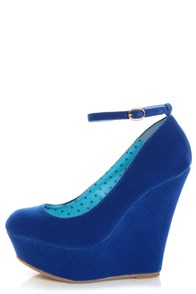 Bamboo Pamela 10 Blue Ankle Strap Platform Wedges at Lulus.com!