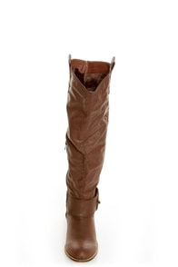 Bamboo Parksville 01 Brown Buckled Riding Boots at Lulus.com!