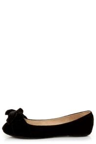 Bamboo Poet 01 Black Velvet Toe Bow Ballet Flats