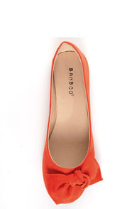 Bamboo Sami 10A Rust Orange Side Bow Ballet Flats at Lulus.com!
