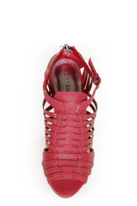 Bamboo Smooch 06 Coral Huarache Platform Wedge Sandals at Lulus.com!