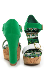 Bamboo Smooch 14 Green Color Block Platform Wedges at Lulus.com!