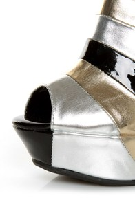 Bamboo Smooch 26 Black Multi Metallic Shootie Platform Wedges at Lulus.com!