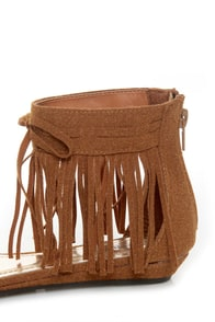 Bamboo Topnotch 02 Chestnut Beaded Fringe Flat Sandals